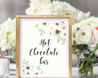 Hot Chocolate Bar Sign, Wedding Drink Sign, Printable Hot Chocolate Sign, Floral Watercolor, Watercolor Anemone #A001