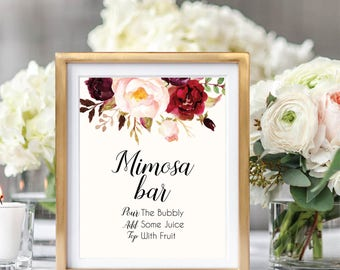 Mimosa Bar Sign, Bubbly Bar Sign, Mimosa Bar Printable, Wedding Bar Sign, Printable Wedding Sign, Floral Wedding Sign, Wedding Decor, #B510