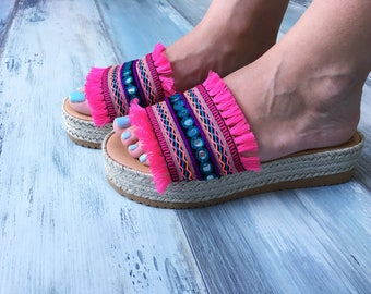 "On sale 20% off, Bohemian sandals ""Nerine"", Greek leather sandals, Wedges, Flatforms"
