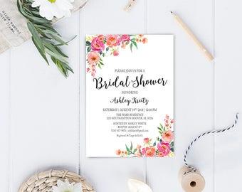 Watercolor Bridal Shower invitation, Bridal shower invitation, Rustic bridal shower invitation, Floral Bridal Shower - US_BI1811