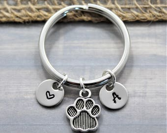 Dog Paw Keychain - Dog Lover Gift - Pet Lover - Personalized - Dog Keychain - Custom Dog - Keychain - Puppy