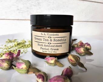 Green Tea & Rosehip Facial Cream - Natural Face Cream - Natural Moisturizer - Anti-aging Cream - Natural Lotion - Gift For Mom