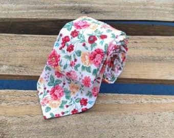 Red Floral Necktie, Red Flower Necktie, Floral Necktie, Flower Necktie