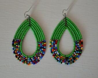 African Maasai Beaded Hoop Earrings | African jewelry | Ethnic Earrings | Green hoop earrings | Tribal Earrings | Gift for Her