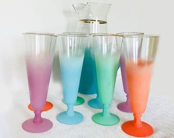 Vintage Blendo Pilsner Drinking Glasses and Pitcher - 9 Piece Set