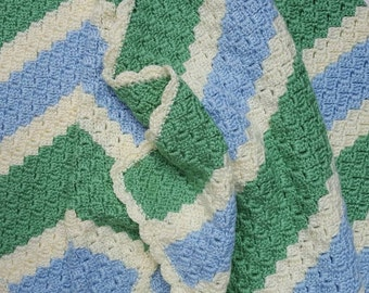 Pastel Crochet Afghan - Green, Blue, Ivory with Scallop Edging, Large Crochet Blanket, Large Crochet Throw, Multi Color Afghan