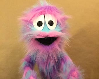 Furry Blue, Purple, and Pink Monster Hand and Rod Puppet