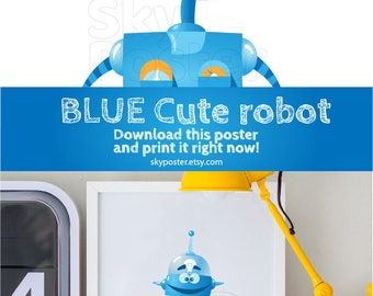 Robot cartoon I robot Boys bedroom ideas 4kids Robot picture Аndroid Humanoid Smiling robot Teenage room ideas DOWNLOAD now PRINTABLE art