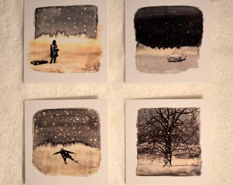 4 Different Winter Wonderland Christmas Cards (4 in total)