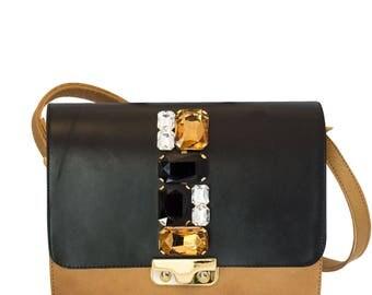 Beige leather MiniBag jewel bag with caramel crystal flap-leather shoulder bag-handmade handbag-Coral bags