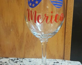 Wine Glass Vinyl Print 'Merica
