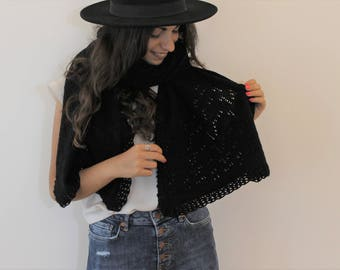 Black Merino Wool Shawl stole wedding gift for her handmade knitting and crochet Scarf