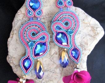 soutache earrings blue fuchsia