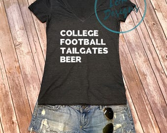 College Football Tailgates Beer V Neck / Football Shirt / Game Day Shirt / College Sports V Neck / Tailgate Shirt / Football Tee