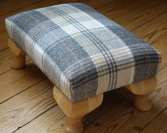 Bespoke rectangle upholstered footstool with beech Queen Anne Legs, Plaid stool, tartan low stool, checked stool, grey stool, beige stool