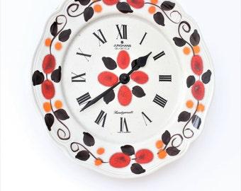 Handpainted Junghans Wall Clock Ceramic,Mid Century Quartz,Retro German Clock,Floral Clock,Ceramic Clock,Multicolored clock
