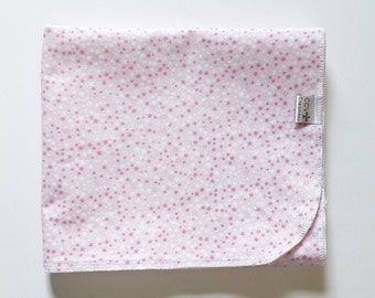 Pink Stars Flannel Receiving Blanket; Baby Blanket; Flannel Blanket; Baby Girl Blanket; Pink Blanket