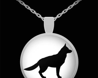 """Stunning German Shepherd Silhouette Necklace with Pendant! Ideal gift for an animal lover! Wear this proudly on 22"""" silver plated necklace!"""