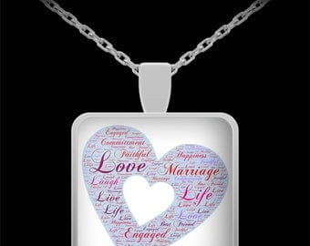 Engagement Necklace Wedding Jewelry Heart Love Commitment Marriage Gift Valentines Day Birthday Present