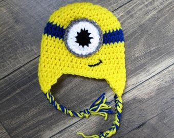 Crochet minions hat/ minion beanie/ despicable me hat, one or two eyes/ Halloween gift for him or her/ preemie, baby, child, adult monster