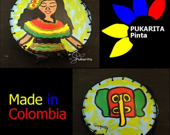 Purse craft made Totumo, with Original artwork, hand painted, Carnival of Barranquilla, made in Colombia
