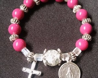 Rosary Stretch Bracelet - Deep Pink and Silver, Miraculous Medal