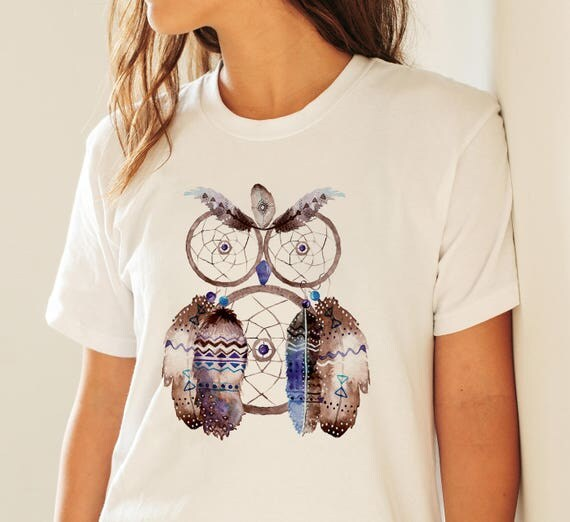 Dreamcatcher Owl | Unisex T-shirt | Apparel | Women / Men Clothing | Personalized T-shirt | Graphic Tee | Native Art Tee  | ZuskaArt