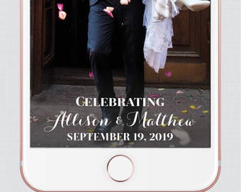 Wedding Snapchat Filter - White Calligraphy Snapchat Geofilter Image - Simple, Elegant, Classy Wedding Snapchat Filter 0005