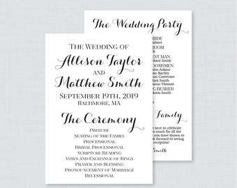 Printable OR Printed Wedding Programs - Black and White Wedding Ceremony Program Cards, Personalized Wedding Program Calligraphy 0005