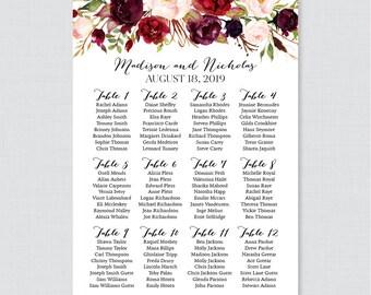 Printable Wedding Seating Chart - Marsala and Pink Floral Wedding Seating Plan Poster - Rustic Flower Wedding Seating Chart Template 0006