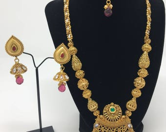 Indian Long Jewelry Set - Indian Jewelry - Gold Long Set - Bollywood Jewelry Set - Indian Bridal Jewelry - Pakistani Jewelry - Temple Polki