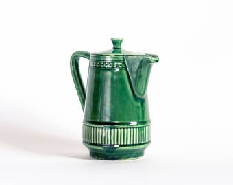 West German Teapot, Retro Green Teapot, 1960's Coffee Pot, 60s Mod Tea Pot, Mid-century Modern Kitchenware, Vintage Ceramic Tea Pot