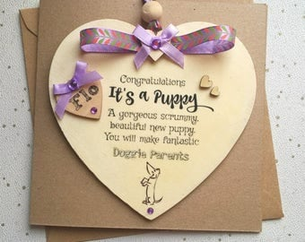 personalised new puppy card, wooden heart congratulations card, Various colours, detachable heart card, new pet card, it's a puppy card