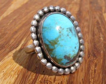Natural Turquoise and  Sterling Silver Ring, Size 7.5