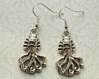 Squid Earrings || Octopus / squid silver-toned charm earrings