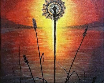 "Marshy Sunset Silhouette, acrylic on canvas, 11""X14"""