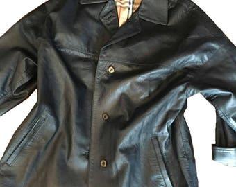 Burberry Black Leather Jacket • Size 14 • Vintage 1990s • Excellent Condition.