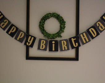 Happy Birthday Banner / Black & Gold / Chevron / Birthday Party Decor / Hanging Banner / Child or Adult / Boy or Girl /