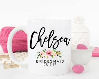 Bridesmaid Mug, Bridesmaid Gift, Wedding mug, Personalized Mug, Maid of Honor Mug, Bridesmaid Proposal, Gift for bridesmaid, Floral mug