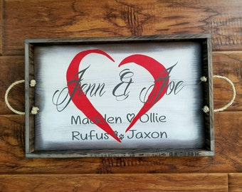 Rustic Family Names serving tray with handles. Wooden decorative tray for ottoman. Hand painted tray for centerpieces. Personalized gift.