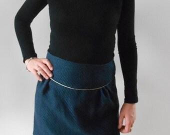 Navy and golden trapeze skirt for women original and feminine by Mesketa