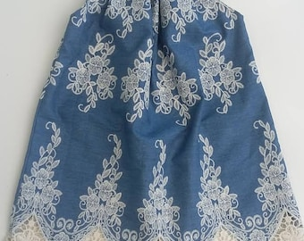 Denim and Lace Flutter Sleeve Peasant Dress Baby Toddler Girls