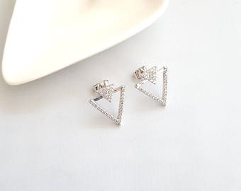 Silver Cubic Triangle Earrings,Silver Triangle Stud Earrings,Triangle Earrings,Cubic Triangle Studs,Triangle Stud Earring,Minimalist Earring