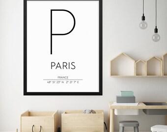 Paris France Print, Paris Poster, Paris Coordinates Printable, Paris Wall Art, Paris Decor, Travel Poster