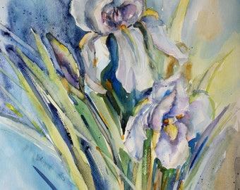 Original watercolor painting, Iris flowers, floral wall art wall decor blooms botanical art nature artwork housewarming gift idea for her
