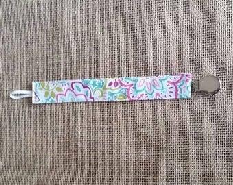 Pacifier clip colorful floral boho