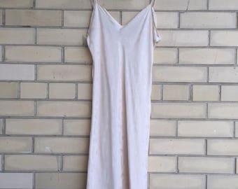 Vintage palest cream print silk slip