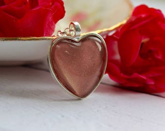 Heart Necklace - Pink Heart Necklace - Bronze Necklace - Heart Jewellery