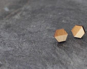 Wooden Earrings Hexagon Laser Cut Jewelry Wood Geometric Earrings Hexagon Studs Wood Jewelry Wooden Sextet Minimalist Jewelry Geometric