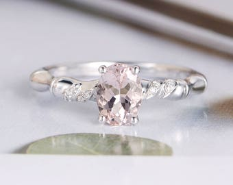 White Gold Engagement Ring Oval Cut Morganite Ring Diamond Leaf Band Half Eternity Unique Bridal Anniversary Gift For Her Women Peachy